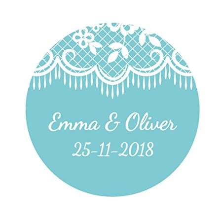Ekunstreet 48x personalised 40mm white lace wedding favour stickersblue wedding favour sticker