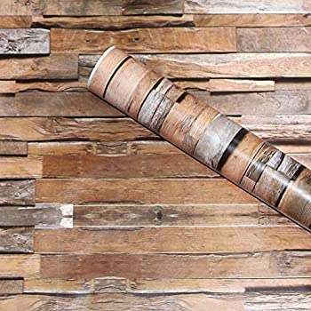 HaokHome 5020 Peel & Stick Wallpaper Wood Plank Brown/Grey/Black Self Adhesive Contact Paper Wall Furniture Sticker