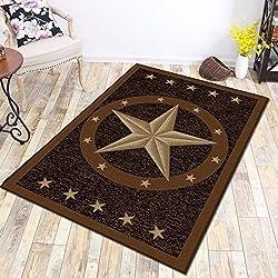 "Furnish my Place 800 Texas Star 3x5 Western Rustic Cowboy Decor Brown Black, 3'3"" x5' , Multicolor"