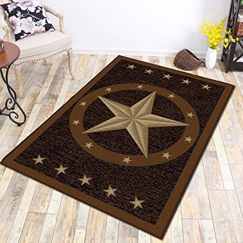 "Furnish my Place 800 Texas Star 3x5 Western Rustic Cowboy Decor Brown Black, 3'3"" x5' , Multicolor"