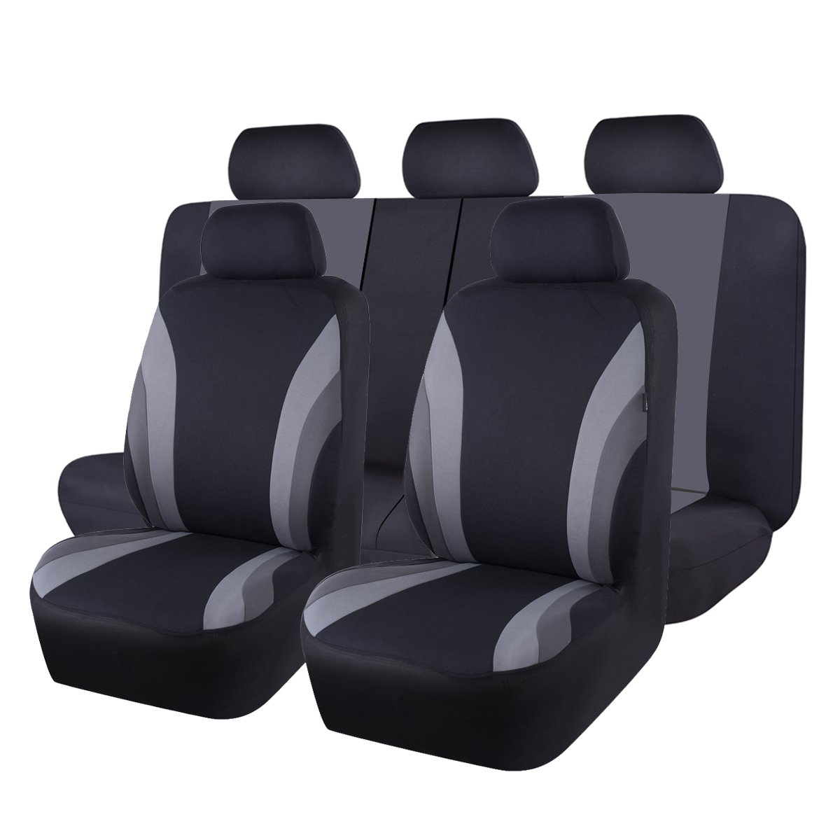 NEW ARRIVAL- CAR PASS Line Rider 11PCS Universal Fit Car Seat Cover -100% Breathable With 5mm Composite Sponge Inside,Airbag Compatible(Black and Gray) by CAR PASS