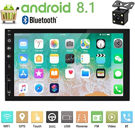 Double Din Car Stereo 7 Inch 1+16G Android 8.1 Touch Screen Car Radio with Bluetooth Head Unit Support FM//WiFi//Mirror Link//Backup Camera//GPS Navigation//DVR//USB//SD Indash Car Radio