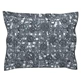 Roostery Steampunk Euro Flanged Pillow Sham Steampunk Panel - Gears and Pipes - Steel by Bonnie Phantasm Natural Cotton Sateen Made