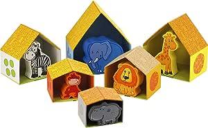 HABA Peekaboo Zoo - Nesting & Stacking Matching Game with 6 Sturdy Cardboard Houses & 6 Wood Animals