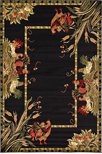 Unique Loom Barnyard Collection French Country Cottage Roosters Black Area Rug (6' x 9')