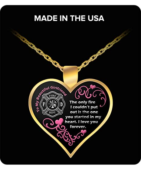 charm heart fire girlfriend wife necklace firefighters bracelet pendant firefighter product products image romantic