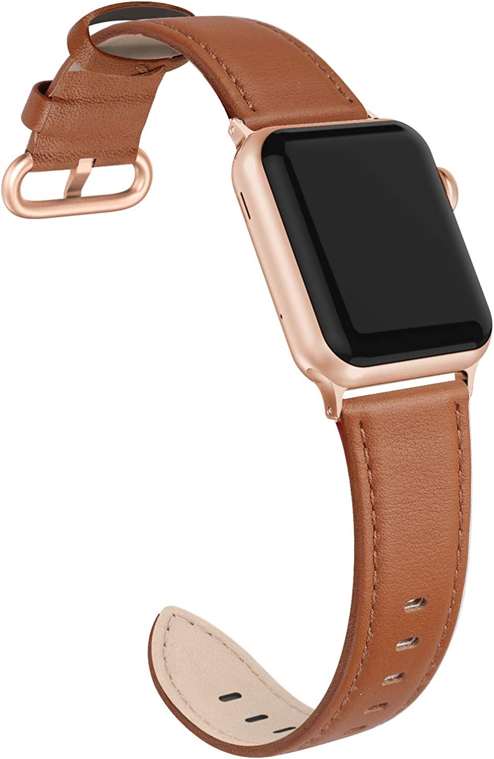 EDIMENS Leather Bands Compatible with Apple Watch 38mm 40mm Band Women, Genuine Leather Band Replacement Strap Compatible for iWatch Apple Watch Series 6 5 4 3 2 1 SE Sport Edition Women