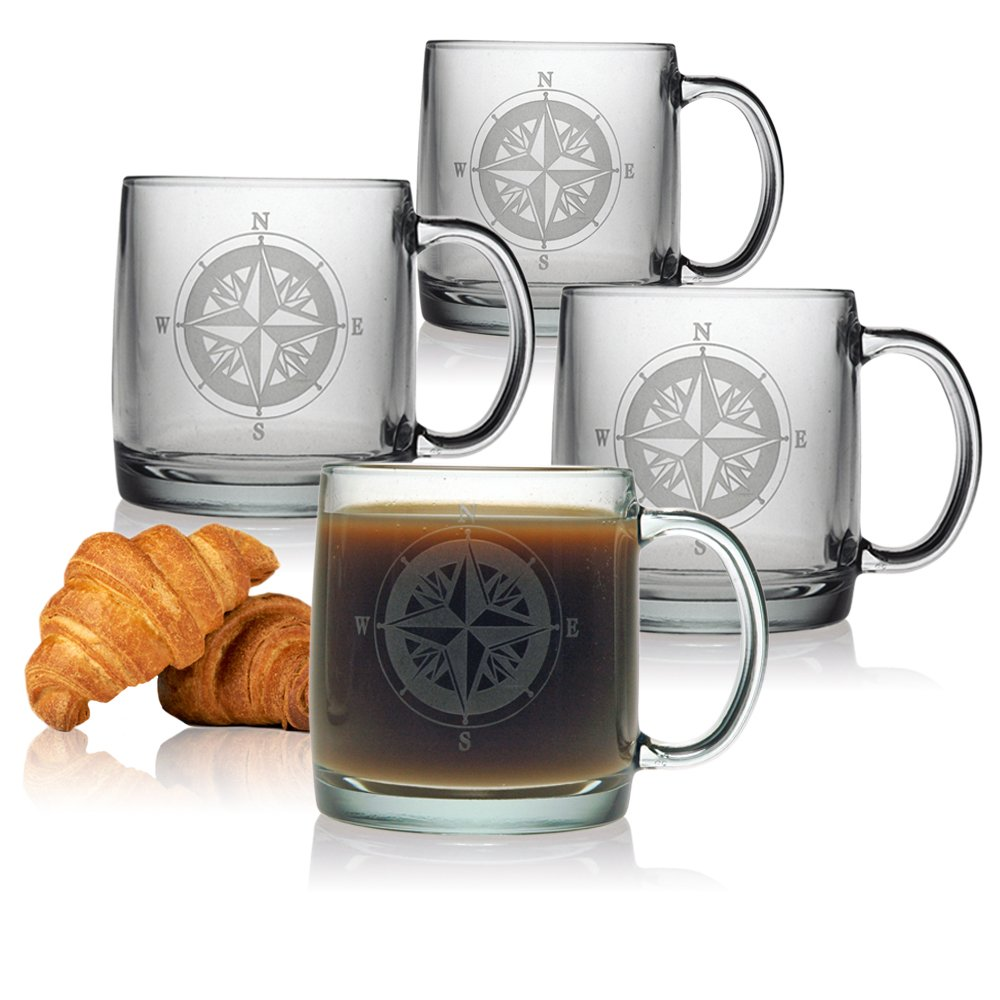 Susquehanna Glass Nautical Compass Rose Sand Etched Glass Coffee Mugs, Set of 4, 12 Ounces 003-6100-539-4