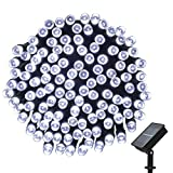 easyDecor Solar String Lights 200 LED Waterproof 72ft 8 Modes Christmas Fairy Lighting for Outdoor Xmas Patio Party Lawn Garden Wedding Party Holiday Decoration (White)