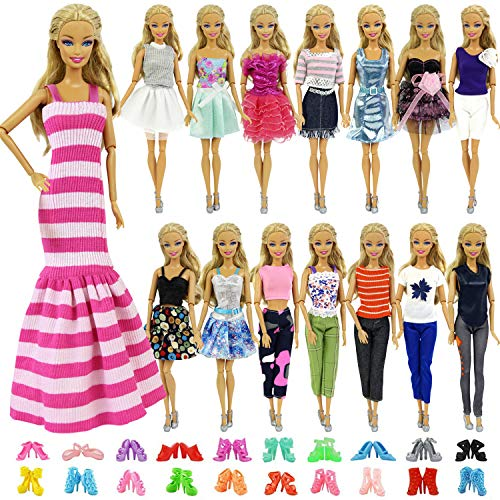 "ZITA ELEMENT 5 Sets Casual Wear Clothes Mix Party Dress with 5 Pairs Shoes for 11.5 Inch Girl Doll Outfits | Fashion Handmade 11.5"" Girl Doll Clothing and Accessories Gift"