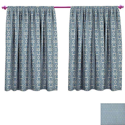homefeel Damask Room Darkening Wide Curtains Symmetrical Ancient Flowers and Curls Wavy Lines Old Ornamental Curves Tile Customized Curtains W108 x L72 Slate Blue Ivory