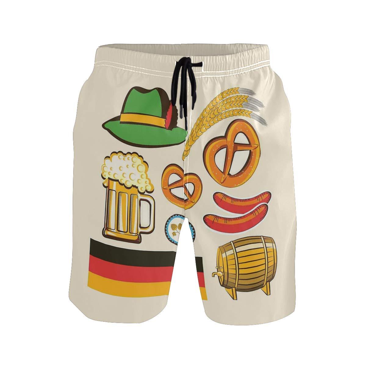 KVMV Oktoberfest Symbols Wheat Sausage Beer and Pretzels Colorful Bavarian Arran Casual Swim Trunks All