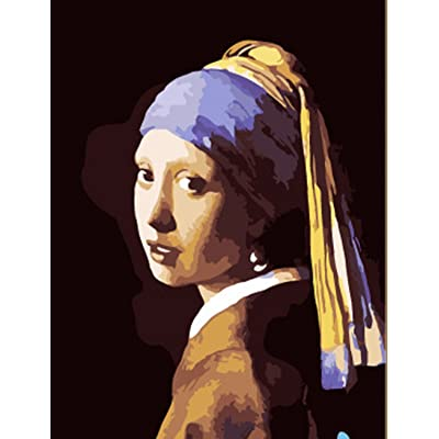 Greek Art Paintworks Paint Color By Number Kit,Johannes Vermeer Girl with a Pearl Earring,16-Inch by 20-Inch: Toys & Games