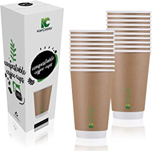 Paper Cups | 100 × 12oz Compostable Coffee Cup, Biodegradable, Recyclable, Insulated Eco Friendly Bulk Pack | KarCasey Environmental