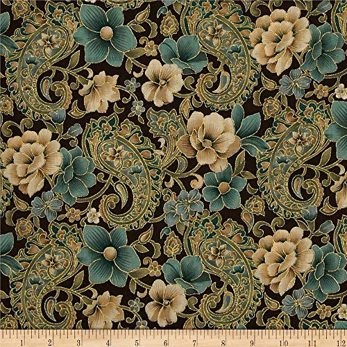Fabric Traditions Marrakech Metallic Paisley Floral Brown Fabric By The Yard (Fabric Floral Walmart)
