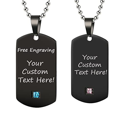 ca1715760 GAGAFEEL Personalized Custom Engraved Message Couple Friendship Necklace ID  Tag Titanium Stainless Steel Pendant Love Gift