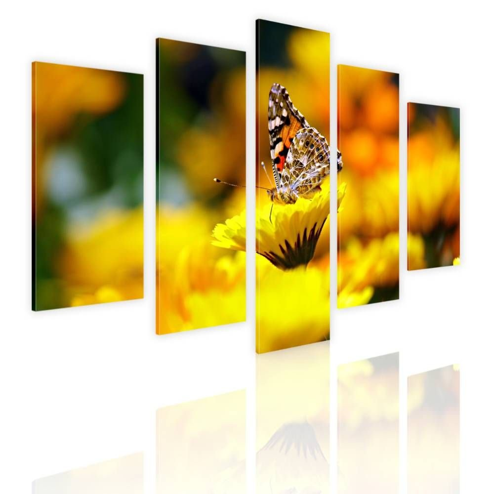 Alonline Art - Butterfly On A Flower by Split 5 Panels | framed stretched canvas on a ready to hang frame - 100% cotton - gallery wrapped | 33''x22'' - 84x56cm | Wall art home decor for toilet giclee