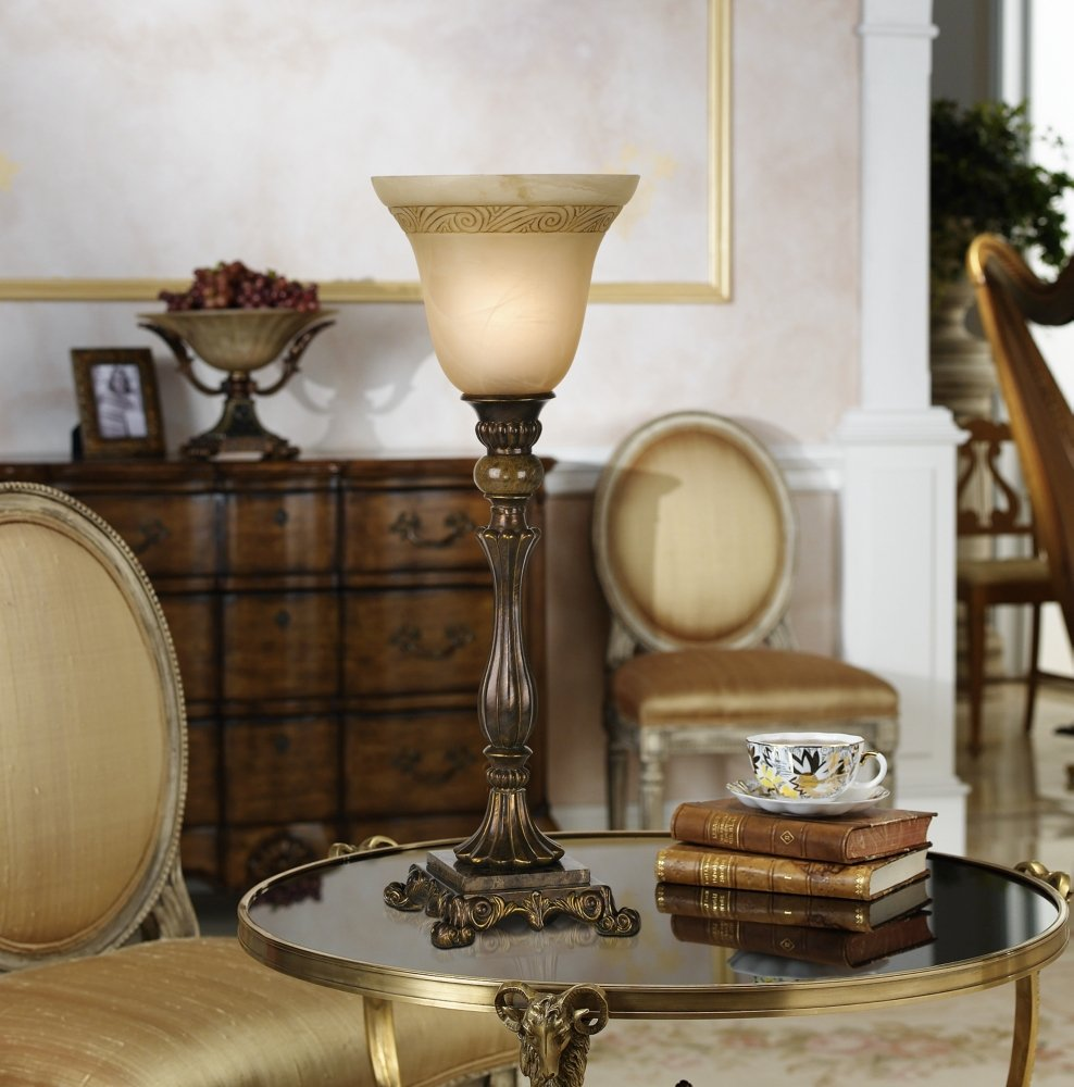 Kathy Ireland By Pacific Coast Buckingham Table Torchiere In Cima Gold    Table Lamps   Amazon.com