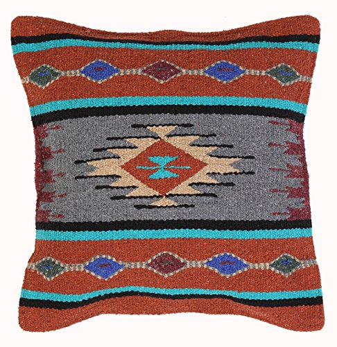 Aztec Throw Pillow Covers, 18 X 18, Hand Woven in Southwest and Native American Styles. (Rust Grey Turquoise 16)
