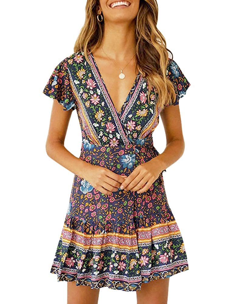 Navy bluee Imysty Womens V Neck Bohemian Floral Print Summer Beach Vintage Party Wrap Mini Dress with Belt