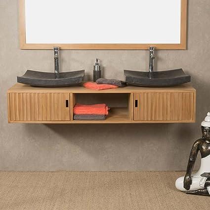 wanda collection Mueble de Cuarto de baño suspendido para Lavabo Doble de Teca Mya 145 cm