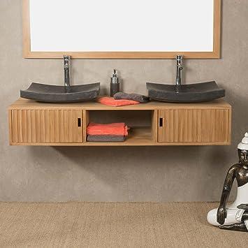 wanda collection Mueble de Cuarto de baño suspendido para Lavabo Doble de Teca Mya 145 cm: Amazon.es: Hogar
