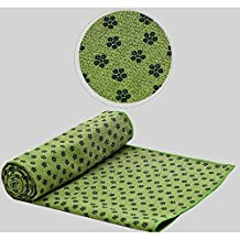 Baiyu Yoga Towel Mat Pilates Sports Gym Exercises Non-slip Skid Environmental Quick Dry PVC Material 2mm Thick Lightweight 600g Size 61*183cm Towel Mat Blanket 5 Colors-GreenWith Carry Bag