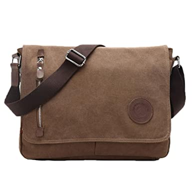 Amazon.com: Life Boost Vintage Canvas Satchel Messenger Laptop ...