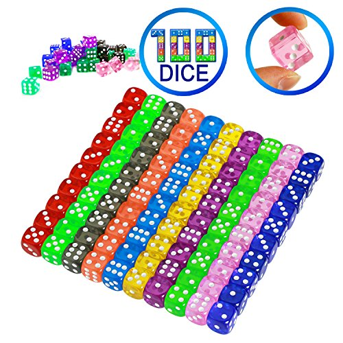 YOUSHARES 100 Pcs Multi-Color Dice Set – 10 Assorted Translucent Color with 10 Pcs each, 16mm D6 Standard Dice with Extra Carrying Bag, Perfect for Board & Dice Games and also Casino Games by YOUSHARES