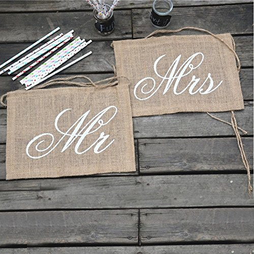 Khaki Chair Sign 2pcs/lot Mr Mrs Burlap Chair Banner Pair Set Garland Rustic Wedding Party Decoration Groom Bride