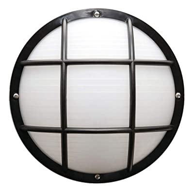 "Solus S772WF-LE26C-BK Bulkhead Wall & Ceiling Mount Light with 4000K Energy Star LED Lamp, Durable & Frosted Polycarbonate Lens, Fade & Rust Resistant, UL Listed, 10 ¼"" H x 10 ¼"" L x 5.125"" W, Black"