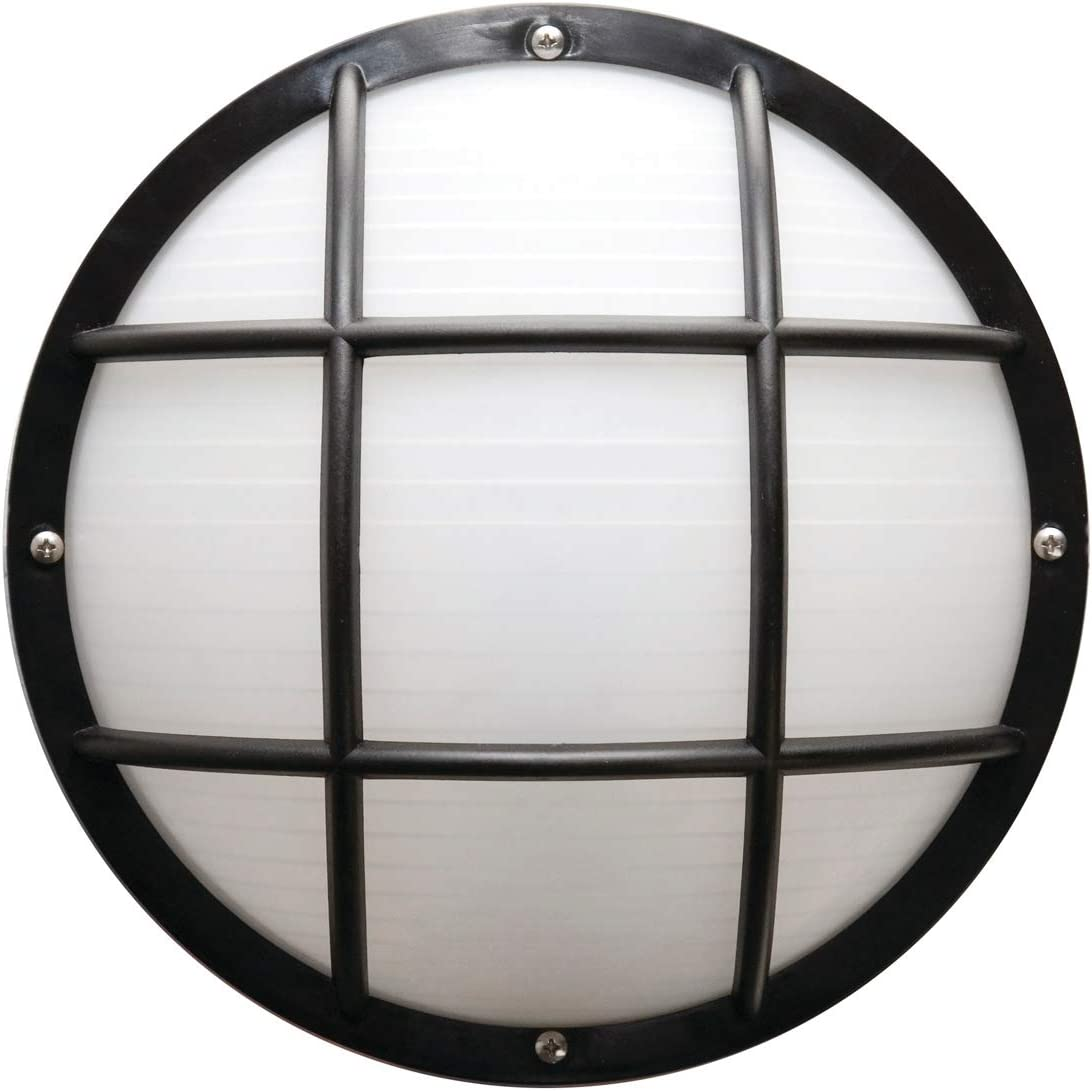 Solus S772WF-LE26C-BK Bulkhead Wall Ceiling Mount Light with 4000K Energy Star LED Lamp, Durable Frosted Polycarbonate Lens, Fade Rust Resistant, UL Listed, 10 H x 10 L x 5.125 W, Black