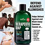 TheraTree Tea Tree Oil Soap with Neem Oil - 12oz - Helps Skin Irritation, Body Odor, & Helps Restore Healthy Complexion… 12 ORGANIC & NATURAL INGREDIENTS (NO HARMFUL CHEMICALS!!!) NO Chemical Preservatives, Thickeners, Detergents, Petroleum, Silicone, Synthetic Fragrance or Dyes. CONCENTRATED VALUE SIZE – Rich Foaming Action and Concentrated Liquid Solution Formula Means a Little Goes a Long Way. Gentle Enough for Daily Use. Ideal for Athletes. Soothing Body Wash For Men and Women. COMPLEXION CONTROL - Helps Wash Away Dirt, Impurities, & Make-up from Skin Surface and Pores. Helps Revitalize Your Skin.