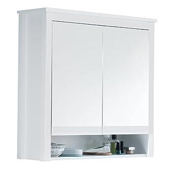 trendteam Badezimmer Spiegelschrank Spiegel Ole, 81 x 80 x 25 cm in Korpus  Weiß Melamin, Front Weiß Dekor ohne Beleuchtung