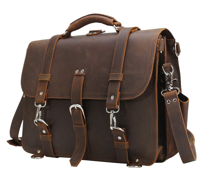 Amazon.com  Polare Men s Full Grain Leather 16   Laptop Briefcase Shoulder  Messenger Bag  Computers   Accessories 1c4dec8464986