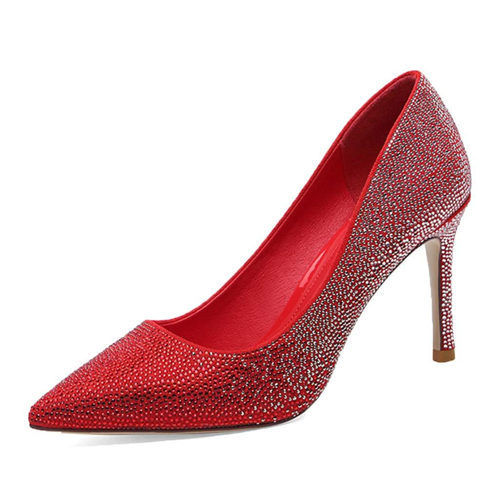 rouge rouge wthfwm MesLes dames Pointu Orteil Stiletto Pointu Orteil Stilettos Pompes Chaussure Soir Slip-on Cuir Sexy discothèque Chaussures de Mariage de Mode  dans les promotions de stade