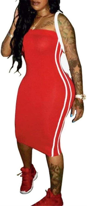 Miaohao Womens Stylish Shoulder Off Striped Strapless Bodycon Club Midi Dress