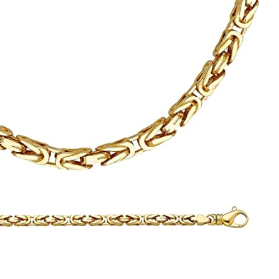3064d038962eb Amazon.com: Solid 14k Yellow Gold Byzantine Necklace Chain Unique ...