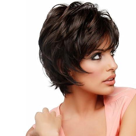 Asifen Peluca de pelo corto, a capas, con flequillo a un lado, pelo humano natural, para mujer: Amazon.es: Belleza