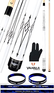 product image for Valhalla VA221 by Viking 2 Piece Pool Cue Stick Black on White 12 Point Transfers High & Low No Wrap 18-21 oz. Plus Billiard Glove and Bracelet
