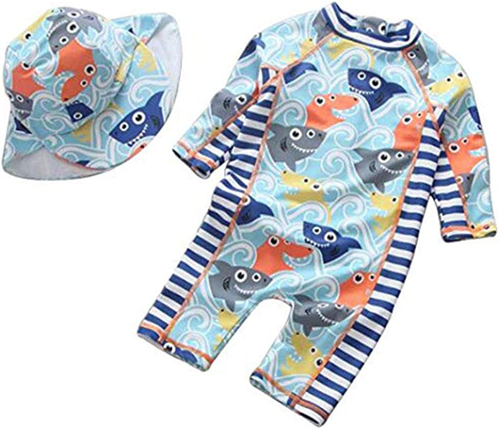 Digirlsor Baby Toddler Kids Boys Swimsuit One Piece Rash Guard Long Sleeve Sun Protection Swimwear with Hat,0-8Y DC209