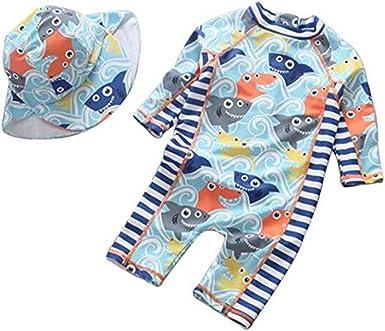 EGELEXY Baby Boys Rash Guard Sports Swimsuits Kids Shark Sunsuit Swimwear 3-Piece Swim Sets