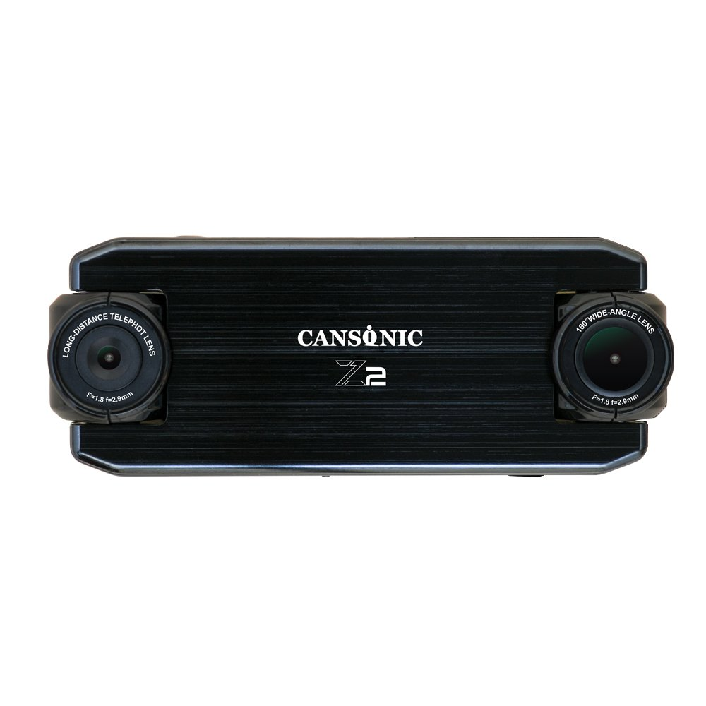 Cansonic UltraDuo Z2 (Standard Edition) Dual Lens Dash Cam Dashboard Camera With Duo Full HD 1080P, 160ft Zoom in for license plate, Wide Angle, G-sensor, WDR Night Vision, Loop Recording, 2'' LCD