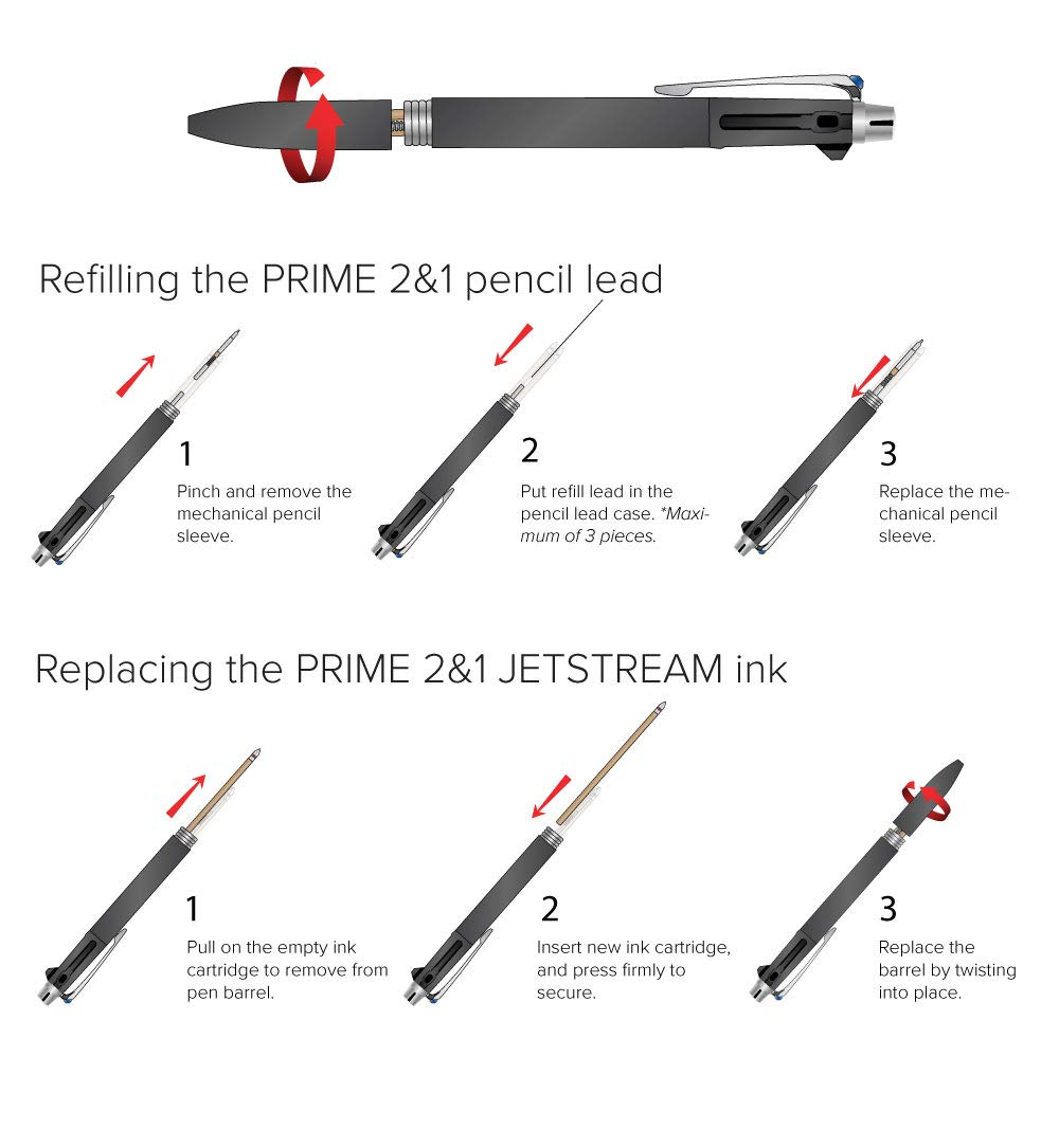 uni JETSTREAM PRIME 2&1 - Red and Black 0.7mm ink + 0.5mm Pencil with Exclusive uni Box by uni (Image #9)