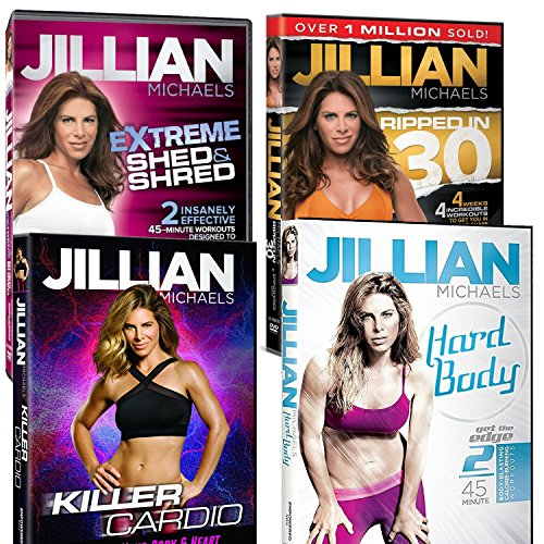 4 Pack Jillian Michaels Fitness DVD's Killer Cardio Extreme Shed And Shred Ripped In 30 and Hard Body (4)