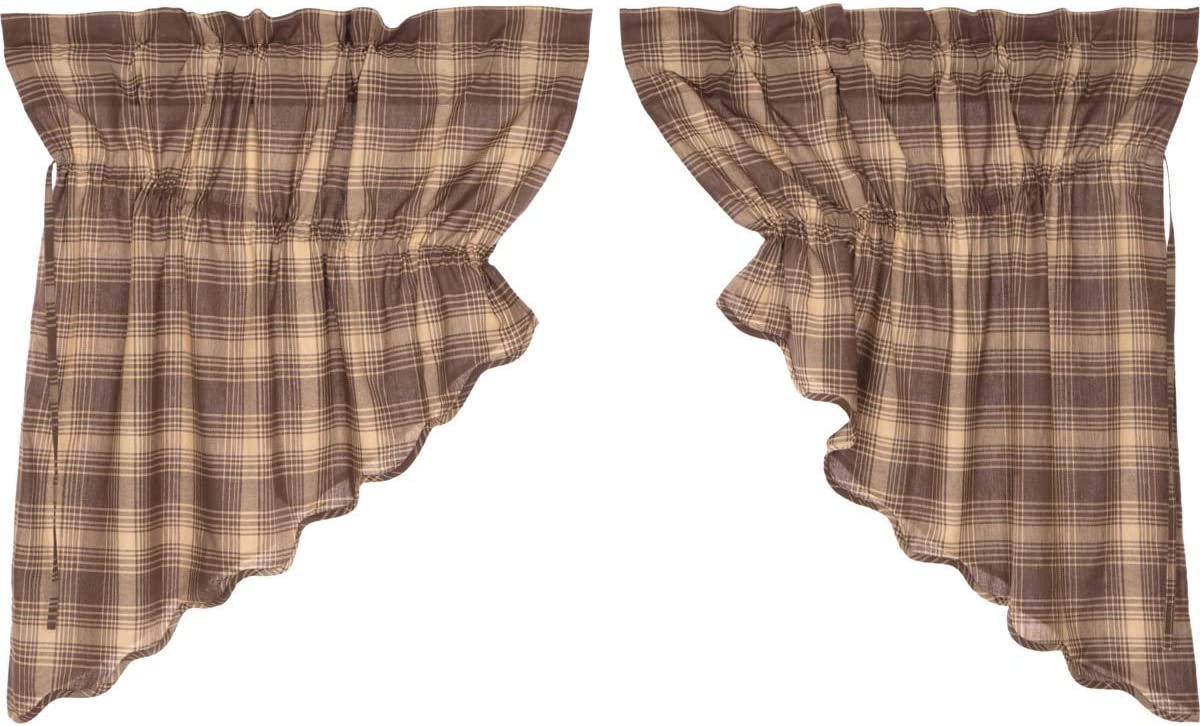 VHC Brands Rustic Lodge Kitchen Window Curtains – Dawson Star Brown Scalloped Prairie Swag Pair, 36x36x18
