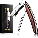 Porfessional Waiters Corkscrew by Corkas, Premium Rosewood Handle All-in-one Wine Opener, Double Worm, Quick Bottle Opener, Smooth foil Cutter, Perfect Gift for Sommeliers,Waiters and Bartenders
