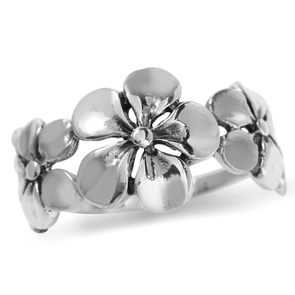 11MM Antique Finish 925 Sterling Silver 3-Plumeria Flower Ring Size 9.5