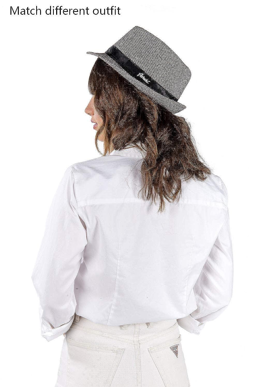 b77be0fa3 Trendy Houndstooth Plaid Trilby Fedora Hat Cotton Short Brim Cap ...