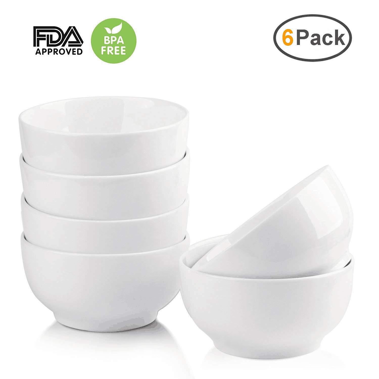 10-Ounce Ceramic Bowl Set of 6,OAMCEG 4.5 Inch White Porcelain Bowls for Cereal, Salad, Dessert,Rice,Soup - Oven Safe/Dishwasher Safe